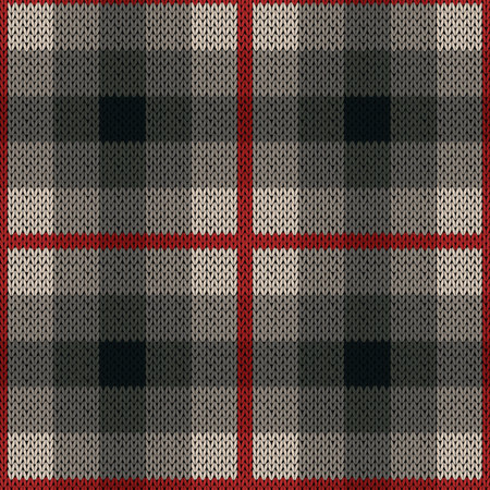 woollen: Seamless vector pattern as a woollen Celtic tartan plaid or a knitted fabric texture in red and grey colors