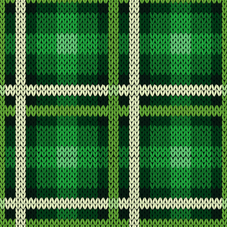 Seamless vector pattern as a woollen Celtic tartan plaid or a knitted fabric texture in green and white colors