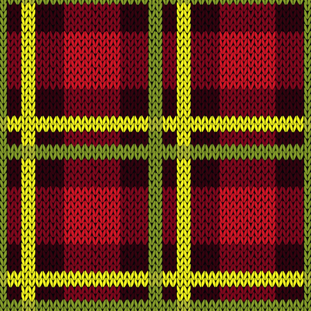 Seamless vector pattern as a woollen Celtic tartan plaid or a knitted fabric texture in green, yellow and red colors