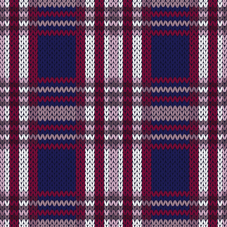 woollen: Seamless knitted vector pattern as a woollen Celtic tartan plaid in contrast colors of dark blue and red, violet and white