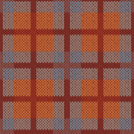 hues: Seamless vector pattern as a woollen Celtic tartan plaid or a knitted fabric mainly in brown hues