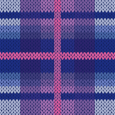 Seamless vector pattern as a woollen Celtic tartan plaid or a knitted fabric in various hues of blue, pink, magenta grey colors