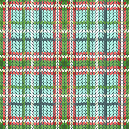 woollen: Seamless vector pattern as a woollen Celtic tartan plaid or a knitted fabric mainly in red, green and white hues Illustration