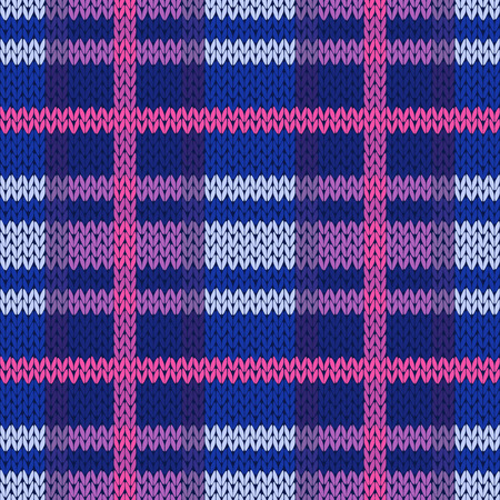 hues: Seamless vector pattern as a woollen Celtic tartan plaid or a knitted fabric in different hues of blue, pink, magenta grey colors