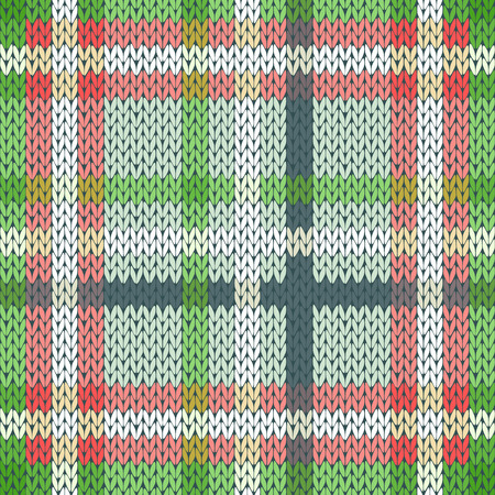 hues: Seamless vector pattern as a woollen Celtic tartan plaid or a knitted fabric mainly in light red and green hues