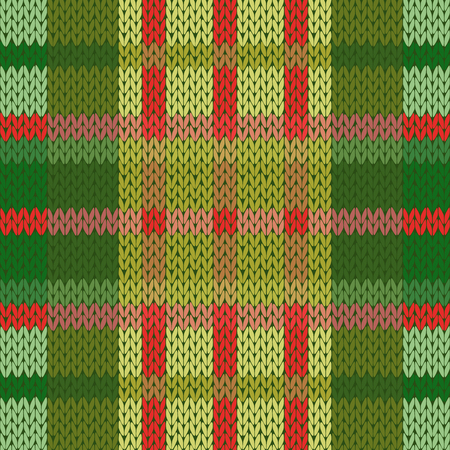 hues: Seamless vector pattern as a woollen Celtic tartan plaid or a knitted fabric texture in mainly green and red hues