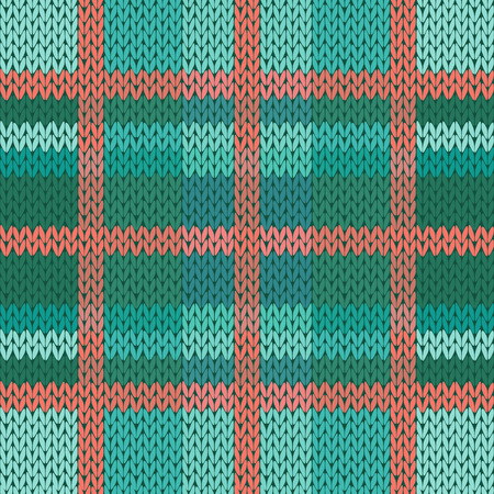 woollen: Seamless vector pattern as a woollen Celtic tartan plaid or a knitted fabric texture in green, turquoise and terracotta light colors