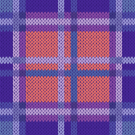 woollen: Seamless vector pattern as a woollen Celtic tartan plaid or a knitted fabric texture in violet, blue and terracotta hues