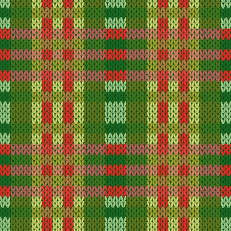Seamless vector pattern as a woollen Celtic tartan plaid or a knitted fabric texture in mainly green and red colors