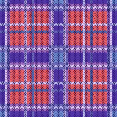 ウールのケルト タータン格子縞またはバイオレット、ブルー、テラコッタ色でニット生地のテクスチャとしてシームレスなベクトル パターン