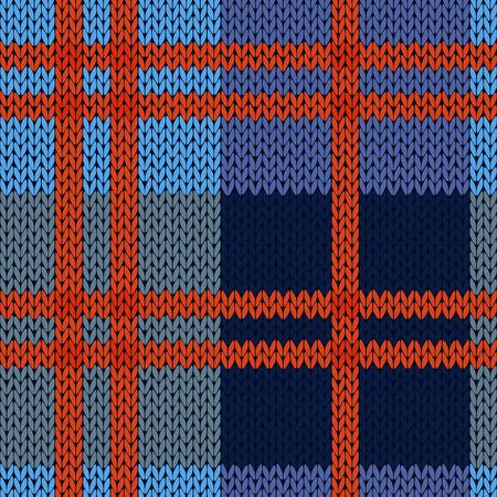 Breien naadloze vector patroon als een wollen Celtic tartan plaid of een gebreide stof textuur in blauwe en rode tinten