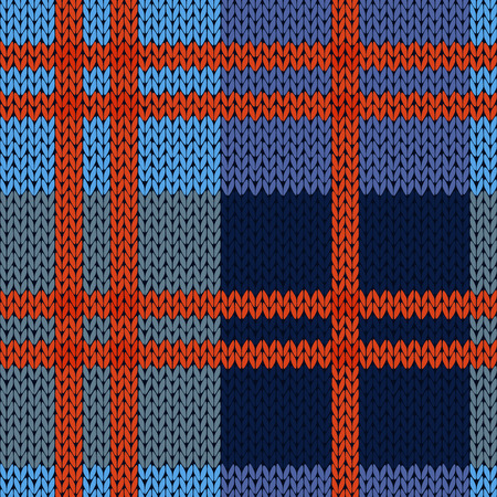 Knitting seamless vector pattern as a woollen Celtic tartan plaid or a knitted fabric texture in blue and red hues Çizim