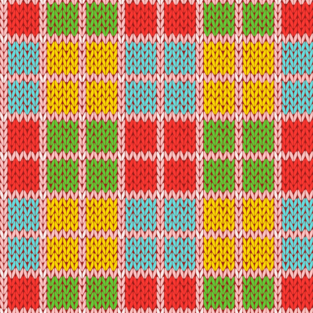 Knitting seamless vector pattern with perpendicular lines as a woollen Celtic tartan plaid or a knitted fabric texture in various bright colors