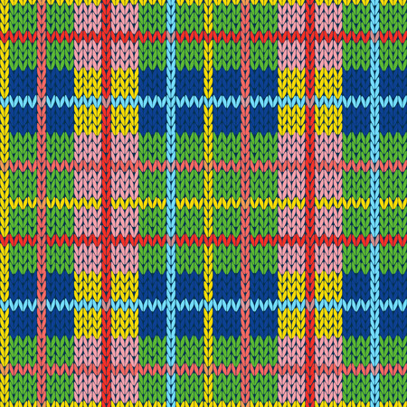 Knitting seamless vector pattern with perpendicular lines as a woollen Celtic tartan plaid or a knitted fabric texture in different hues