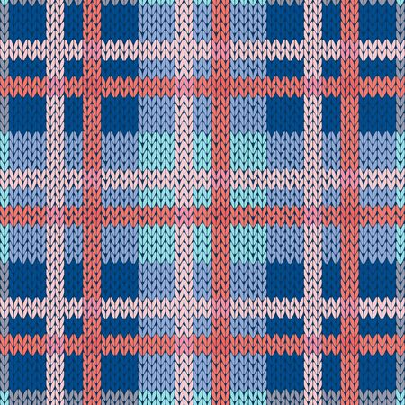 Knitting seamless vector pattern with perpendicular lines as a woollen Celtic tartan plaid or a knitted fabric texture in blue and pink hues