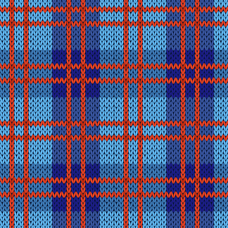 Knitting seamless vector pattern with perpendicular lines as a woollen Celtic tartan plaid or a knitted fabric texture in blue and red colors