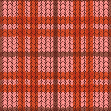 woollen: Knitting seamless vector pattern with perpendicular lines as a woollen Celtic tartan plaid or a knitted fabric texture in pink and orange hues