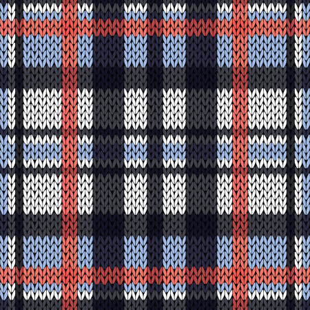 Knitting seamless vector pattern with perpendicular lines as a woollen Celtic tartan plaid or a knitted fabric texture in pink, white and various blue hues