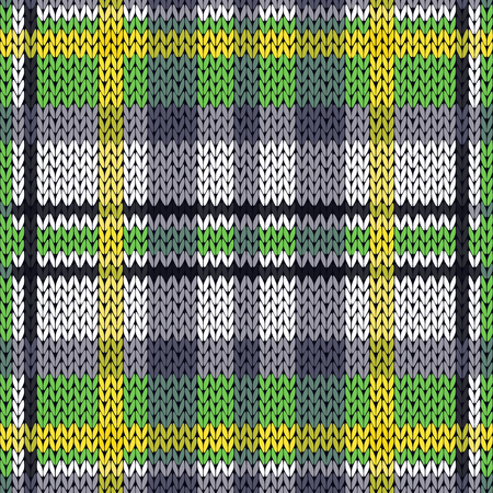 Knitting seamless vector pattern with perpendicular lines as a woollen Celtic tartan plaid or a knitted fabric texture in green, white, yellow and grey hues Illustration