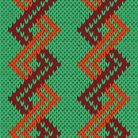 Knitting seamless vector pattern with zigzag ornamental chains as a knitted fabric texture in green, orange and brown colors