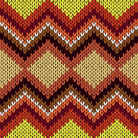 Knitting seamless vector pattern with zigzag ornamental chains as a knitted fabric texture mainly in warm hues Illustration