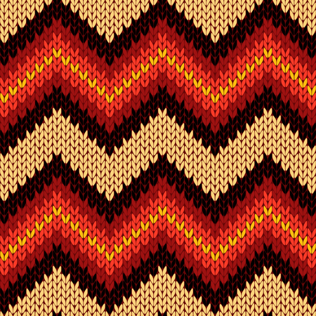 woollen: Knitting seamless vector pattern with zigzag ornamental chains as a knitted fabric texture mainly in warm colors