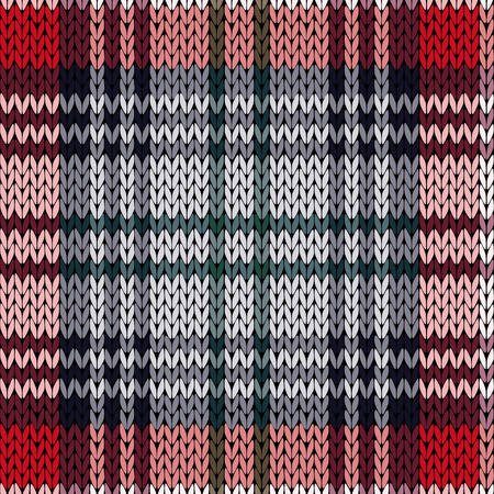 hues: Knitting seamless vector pattern with perpendicular lines as a woollen Celtic tartan plaid or a knitted fabric texture in red, pink and grey hues