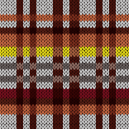 Knitting seamless vector pattern with perpendicular lines as a knitted fabric texture in brown, red, yellow, and grey hues