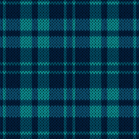 Knitting seamless vector pattern with perpendicular lines as a woollen Celtic tartan plaid or a knitted fabric texture in various blue muted hues
