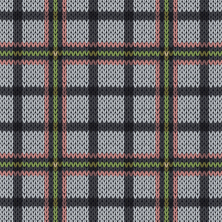 hues: Knitting seamless vector pattern with perpendicular lines as a woollen Celtic tartan plaid or a knitted fabric texture in muted pink, green and grey hues Illustration