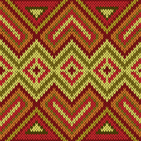 Ornamental knitting seamless vector pattern with perpendicular lines as a knitted fabric texture in bright warm hues of red, orange, yellow and green Illustration