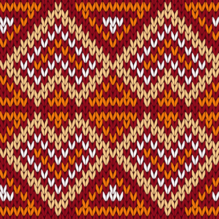 Ornamental knitting seamless vector ethnic pattern with perpendicular lines as a knitted fabric texture in warm hues of red, orange, beige and white