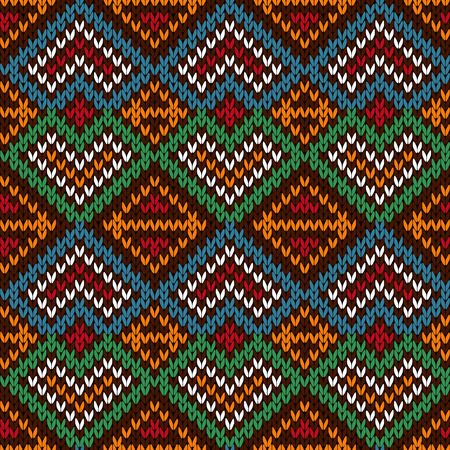 Ethnic knitting ornamental seamless vector pattern with perpendicular lines as a knitted fabric texture in blue, white, red, orange and green colors