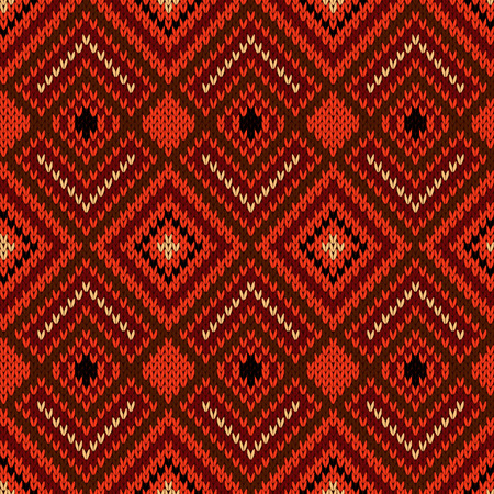 Ornamental ethnic knitting seamless vector pattern as a knitted fabric texture in various warm hues