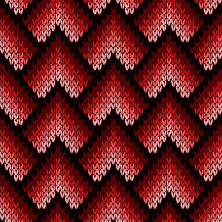 woollen: Abstract ornamental knitting seamless vector pattern as a knitted fabric texture with various transition hues of red and pink colors Illustration
