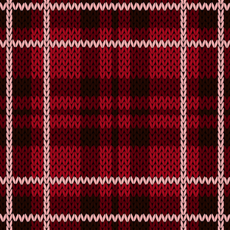 Knitting checkered seamless vector pattern with perpendicular lines as a woollen Celtic tartan plaid or a knitted fabric texture, mainly in red hues with light pink thread