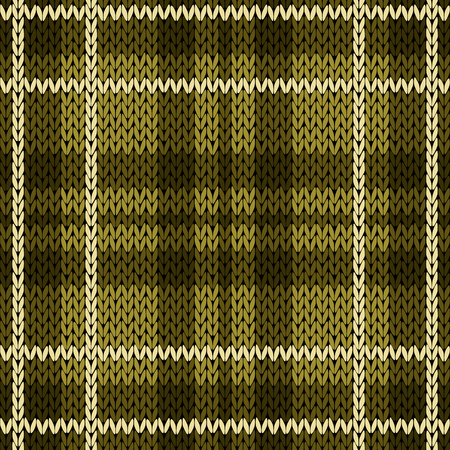 woollen: Knitting checkered seamless vector pattern with perpendicular lines as a woollen Celtic tartan plaid or a knitted fabric texture, mainly in warm green hues with white thread