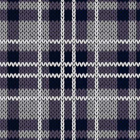 hues: Knitting checkered seamless vector pattern with perpendicular lines as a woollen Celtic tartan plaid or a knitted fabric texture, mainly in muted violet hues with white thread Illustration