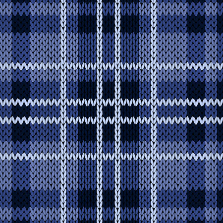 woollen: Knitting checkered seamless vector pattern with perpendicular lines as a woollen Celtic tartan plaid or a knitted fabric texture in various blue hues