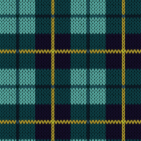 Knitting seamless vector pattern with perpendicular lines as a woollen Celtic tartan plaid or a knitted fabric texture in turquoise, dark blue and yellow colors