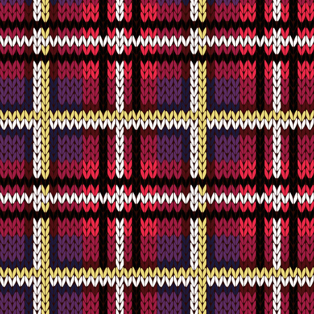 Knitting checkered seamless vector pattern with perpendicular lines as a woollen Celtic tartan plaid or a knitted fabric texture in various colors, mainly in reddish hues