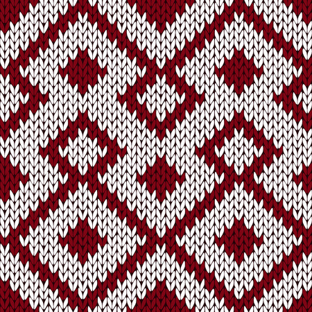woollen: Abstract knitting ornamental seamless vector pattern as a knitted fabric texture in muted dark red and white colors Illustration