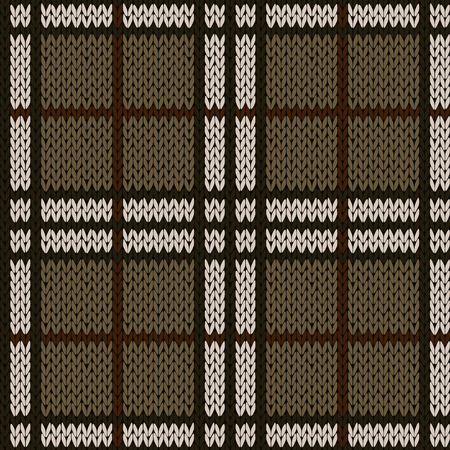 woollen: Knitting seamless vector pattern with perpendicular lines as a woollen Celtic tartan plaid or a knitted fabric texture in muted warm hues