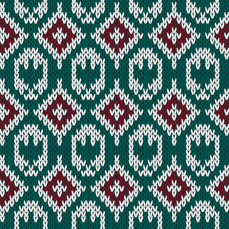 red cardigan: Abstract knitting ornamental seamless vector pattern with rhombus and stylized eagle as a knitted fabric texture in red, green and white colors