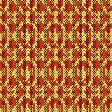 woollen: Abstract knitting ornamental seamless vector pattern as a knitted fabric texture in warm hues of orange Illustration
