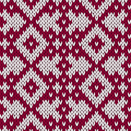 woollen: Abstract knitting ornamental seamless vector pattern as a knitted fabric texture in dark red and white colors Illustration