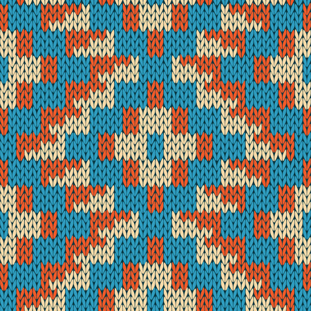 woollen: Abstract knitting ornamental seamless geometric vector pattern as a knitted fabric texture in blue, beige and orange colors