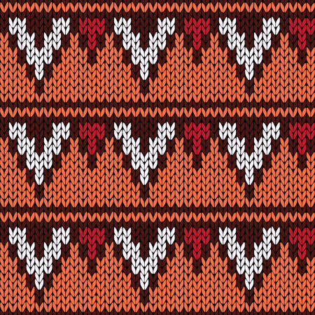 woollen: Abstract knitting ornamental seamless ethnic vector pattern with rows of geometric figures as a knitted fabric texture in warm colors