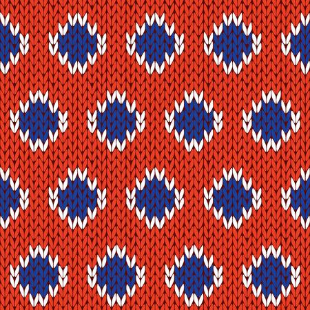 編み物のファブリックのテクスチャとしてオレンジ色の背景上に青と白の細胞秩序とシームレスなベクトル パターンをニットを抽象化します。