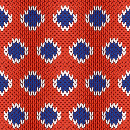 Abstract knitting seamless vector pattern with orderliness blue and white cells over orange background as a knitted fabric texture
